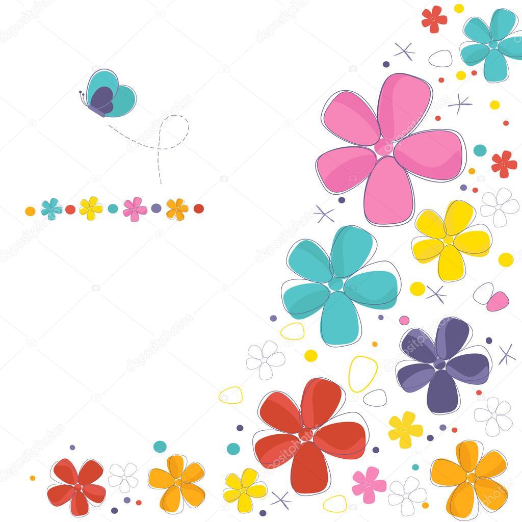 Flores decorativas coloridas con tarjeta de felicitaci n - Fotos decorativas ...