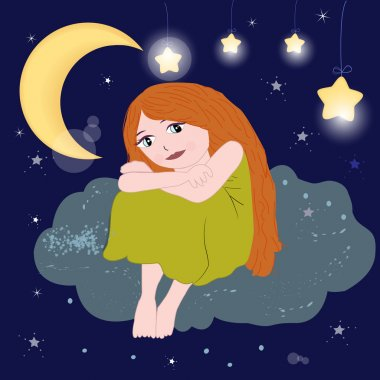 Cute girl sitting on the cloud night sky vector