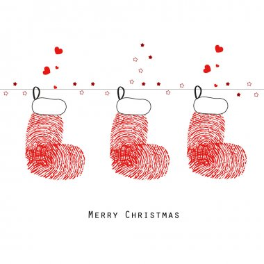 Christmas stockings with fingerprints greeting card vector