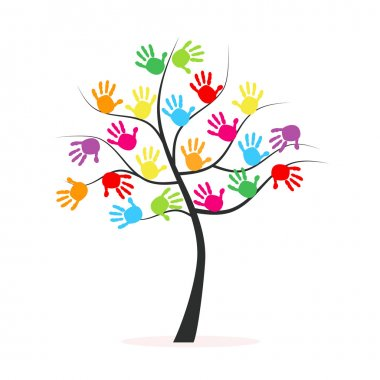 Tree with colorful hand prints vector background clip art vector