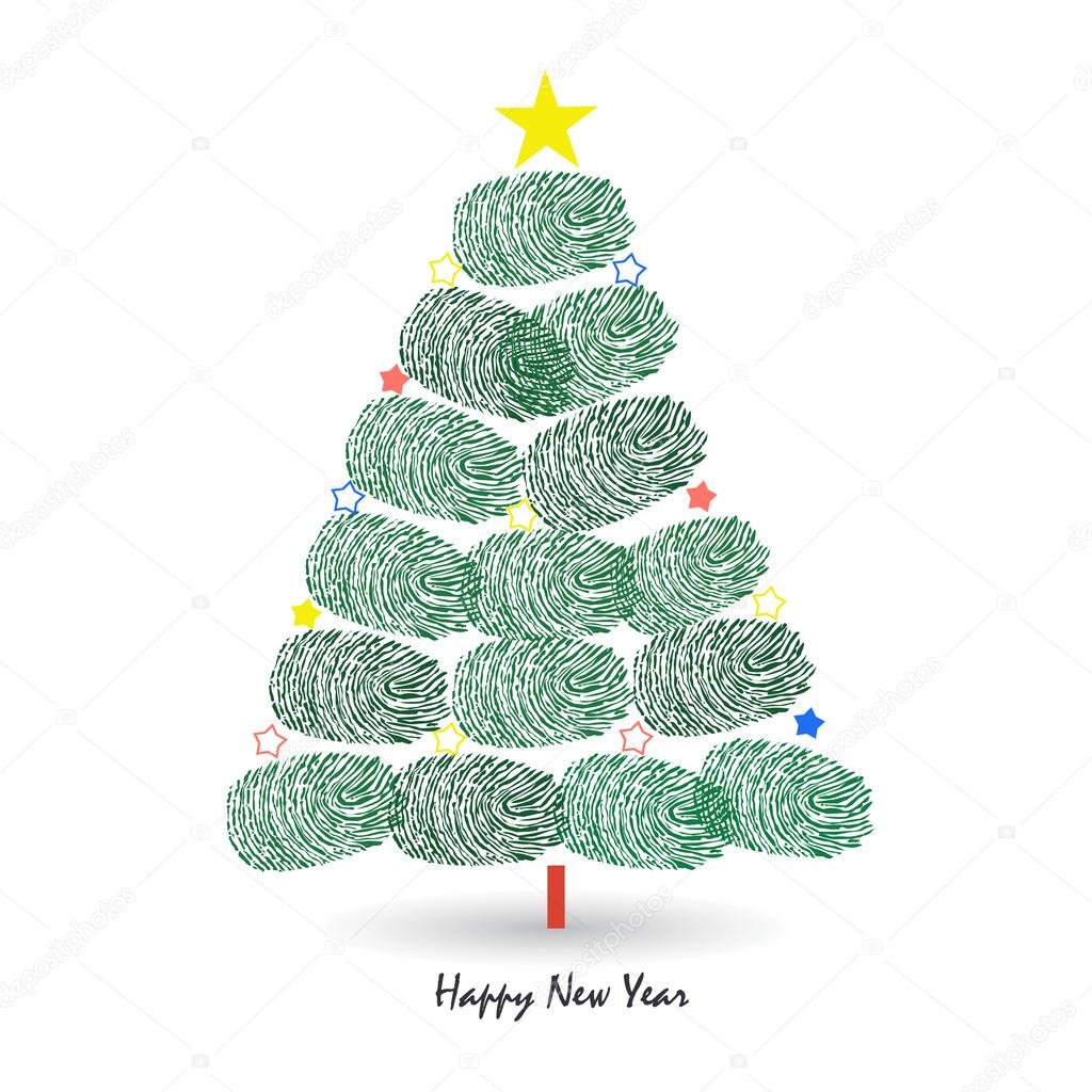 Happy new year pine tree with finger prints vector greeting card