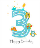 Photo Happy third birthday with owls baby boy greeting card vector