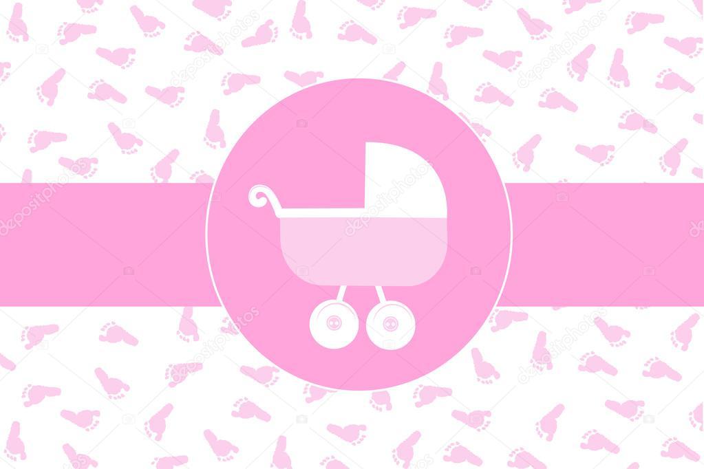 Carrinho De Bebê Menina Com Vetor De Fundo Impressão De Pé De Bebê