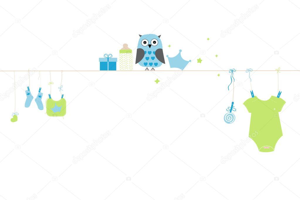 gratulationskort nyfödd pojke Nyfödd baby boy symboler med uggla. Bebis ankomst gratulationskort  gratulationskort nyfödd pojke
