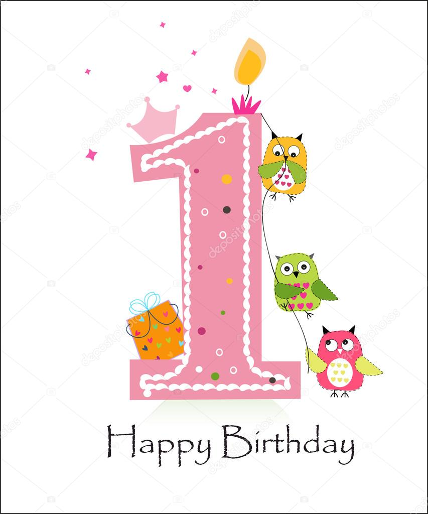 Happy first birthday with owls baby girl greeting card vector happy first birthday with owls baby girl greeting card vector stock vector kristyandbryce Gallery