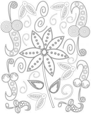 Coloring book page for adults, hand drawn elephant, flowers relax and meditation vector