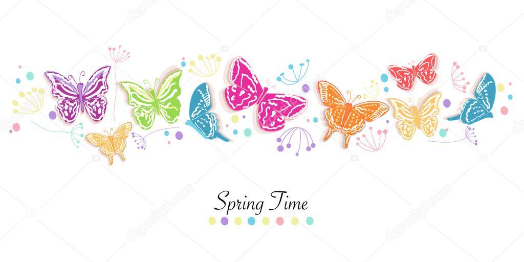 Flores y mariposas de colores abstractos decorativos primavera ...