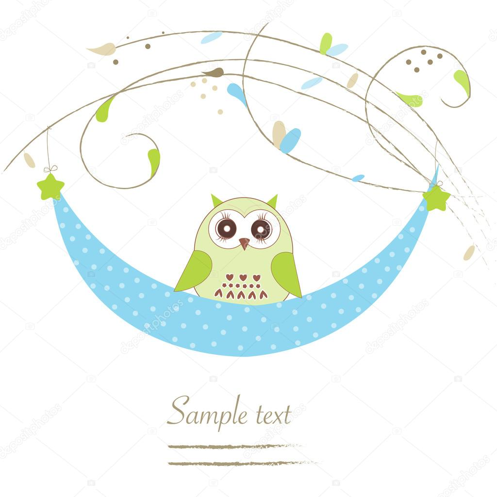 newborn baby boy cradle with owl baby shower greeting card stock