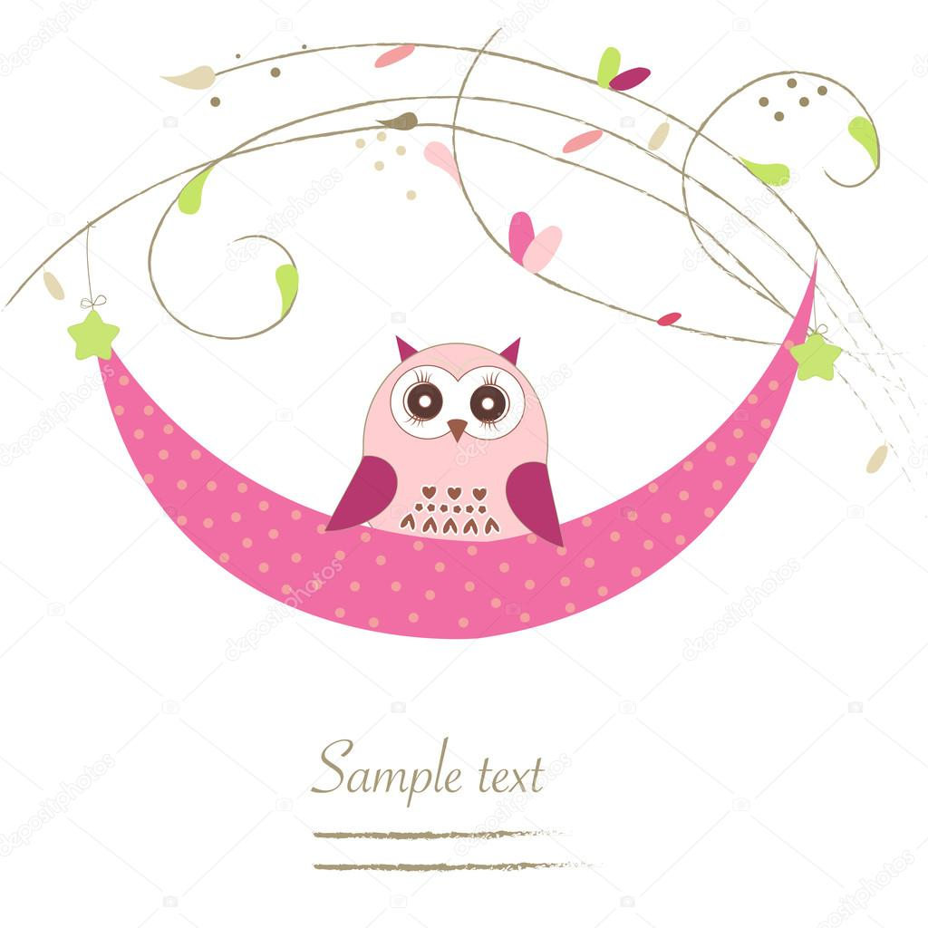 newborn baby girl cradle with owl baby shower greeting card u2014 stock vector