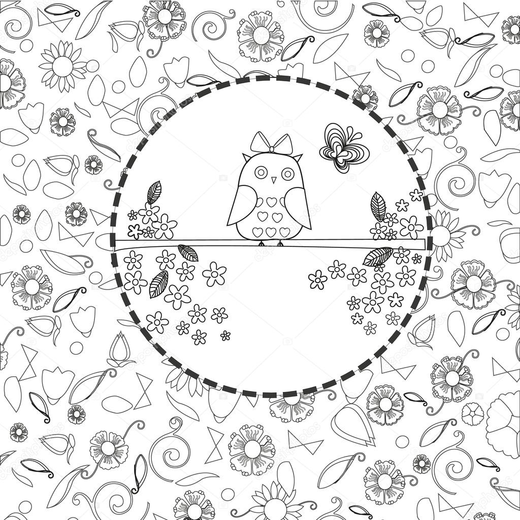 Coloring book page for adults, hand drawn elephant, flowers relax ...