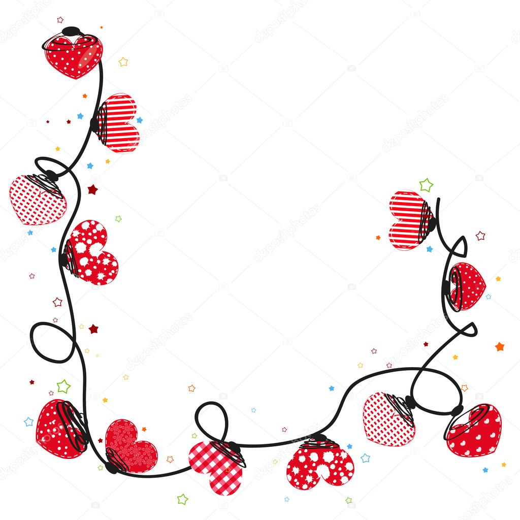 Hearts Valentine Day Doodle Hearts Border Design Vector Background