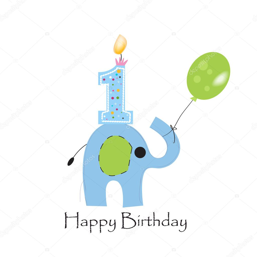 First Birthday Candle With Animals Stock Photo: First Birthday Candle With Elephant And Balloon Greeting