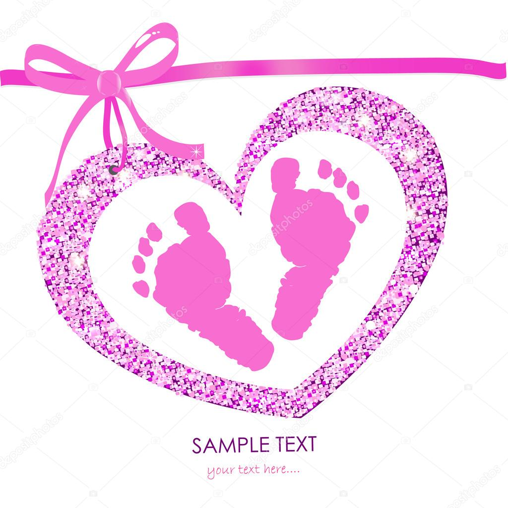 baby girl foot prints with heart frame vector greeting card stock