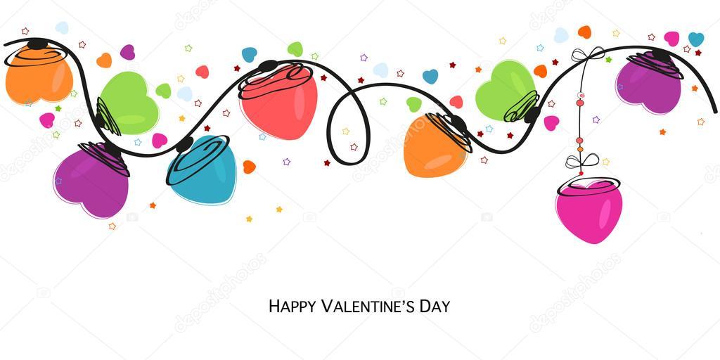 Vector de diseño de cenefa de corazones de colores San Valentín día ...