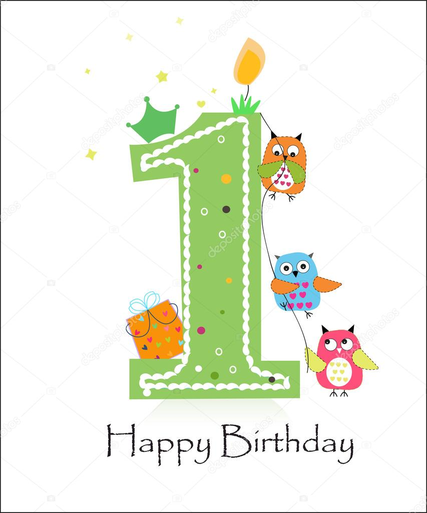 Happy First Birthday With Owls Baby Boy Greeting Card Stock Vector