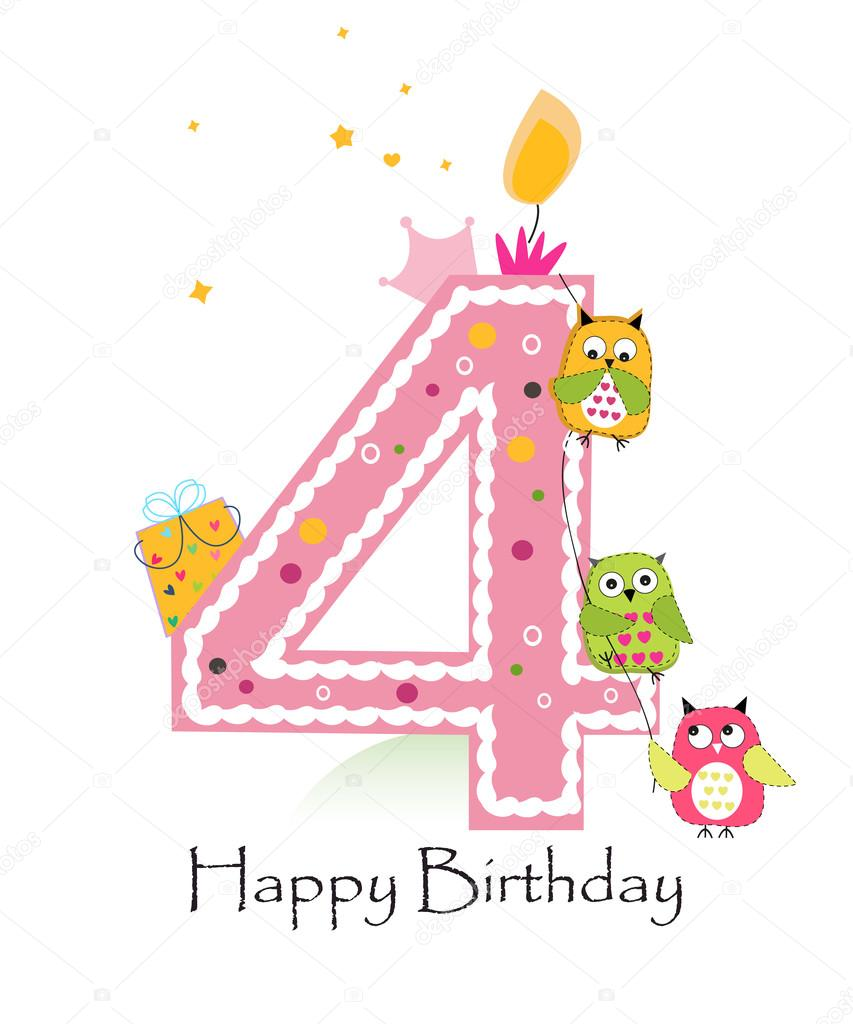 Happy fourth birthday with owls baby girl greeting card vector happy fourth birthday with owls baby girl greeting card vector stock vector kristyandbryce Gallery