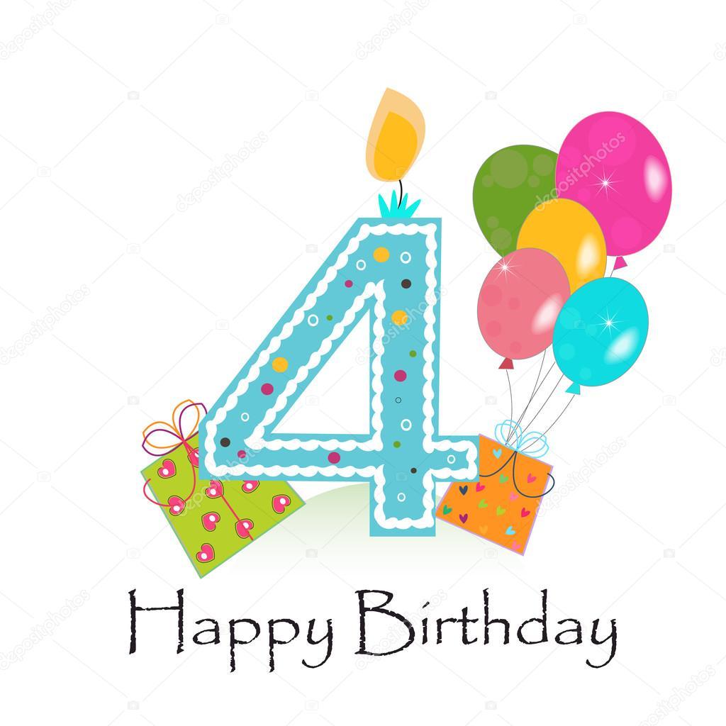 Happy Fourth Birthday Card Vector Background Vector