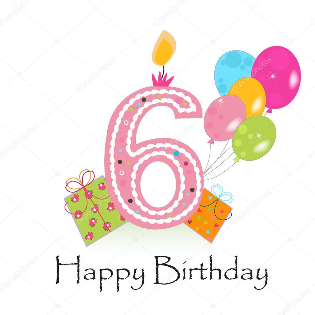 Happy Sixth Birthday Card Vector Stock