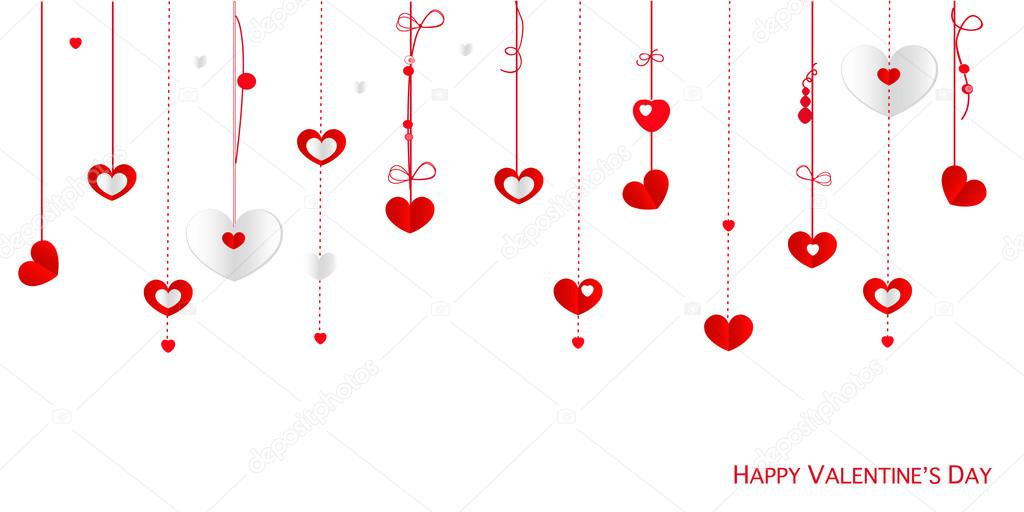 Happy Valentine S Day Card With Border Design Hanging Hearts Vector