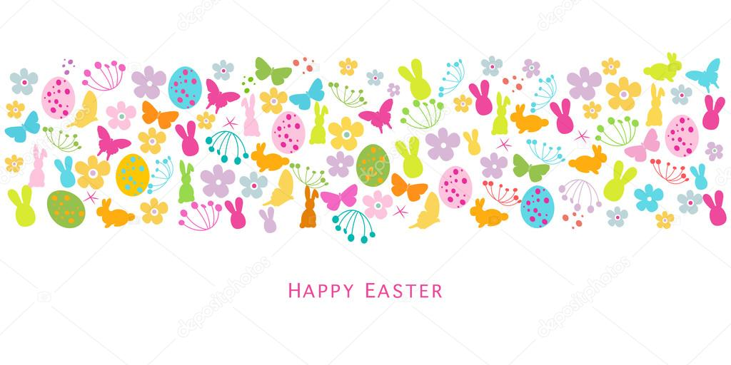 Colorful easter symbols border design greeting card stock vector colorful easter symbols border design greeting card stock vector m4hsunfo