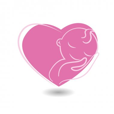 Pink heart with baby icon
