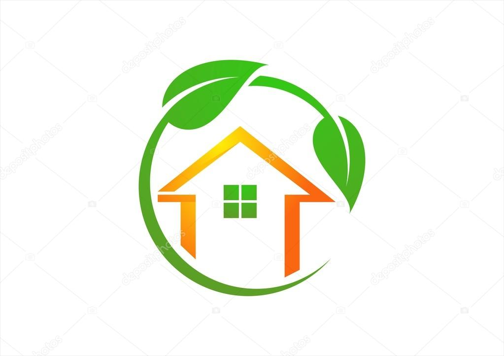 circle, home, logo, illustration, house, green, plants, symbol, vector ,home, ecology, icon, design