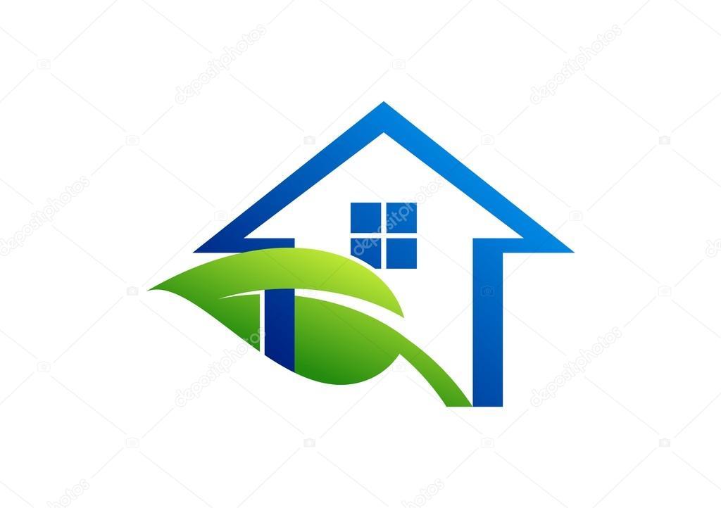 house logo leaf home symbol shelter plants icon real estate vector illustration design stok. Black Bedroom Furniture Sets. Home Design Ideas