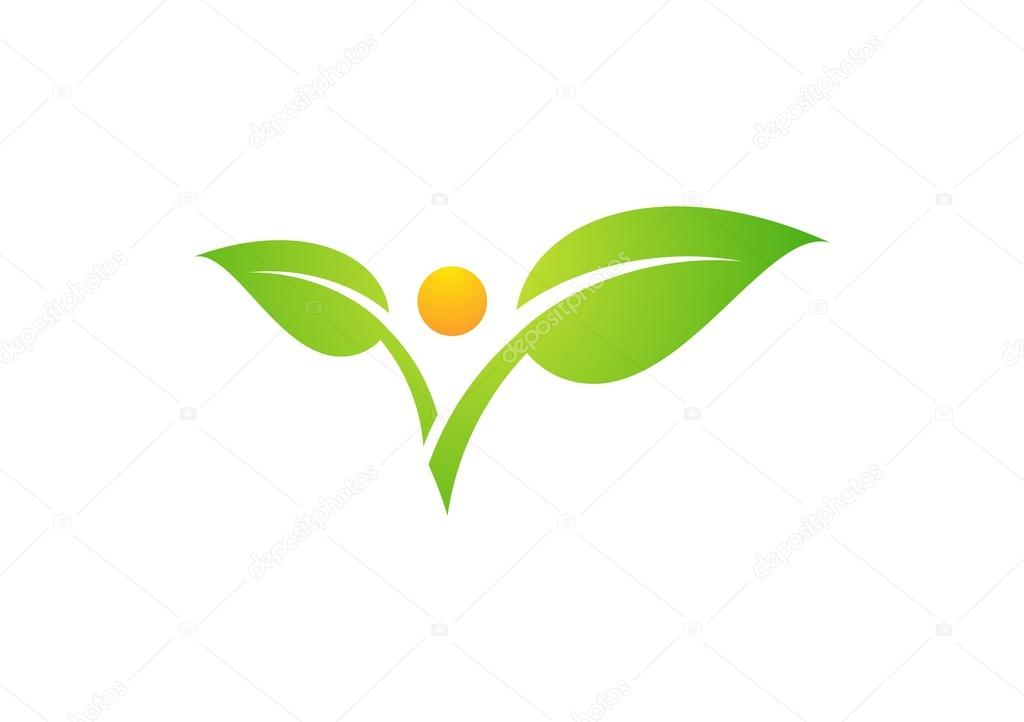 Plant,people,natural,logo,sun,leaf,botany,ecology icon,wellness health symbol