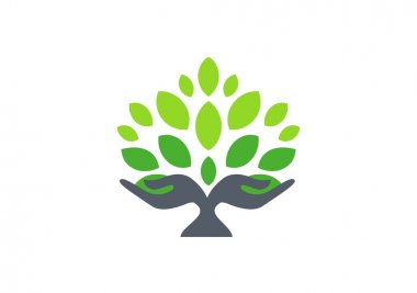 Tree hand logo, hand tree nature wellness health symbol icon