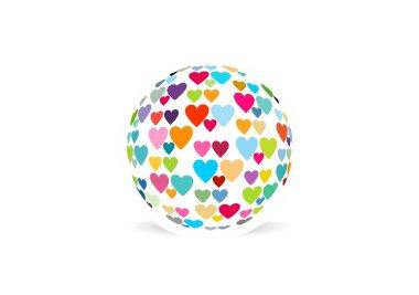 Global healthy heart, circle love logo symbol icon illustration vector design clip art vector