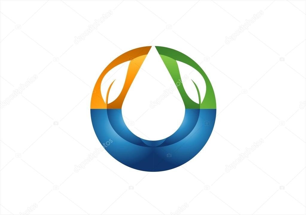 Circle nature ecology friendly water drop logo,cost efficient health nature icon ,clean water drop symbol