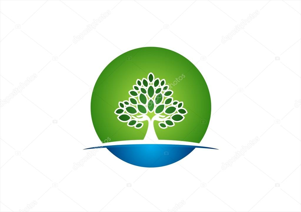 Natural hand tree logo circle wellness yoga icon health symbol design vector