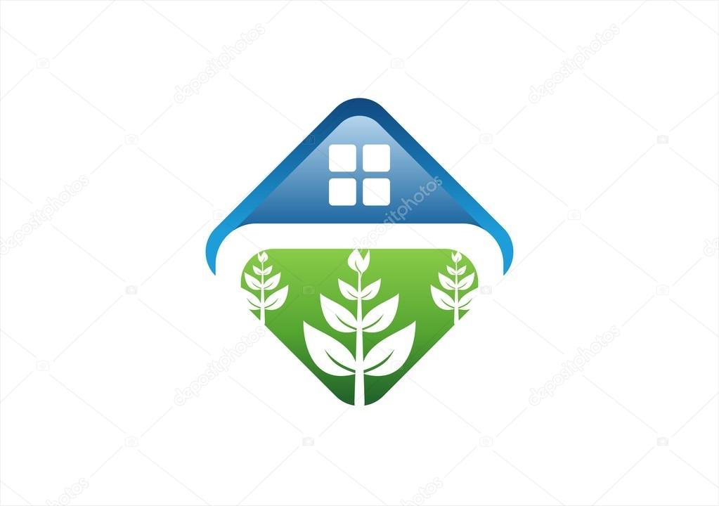 Square shelter house plants logo villa nature icon healthy home symbol design vector