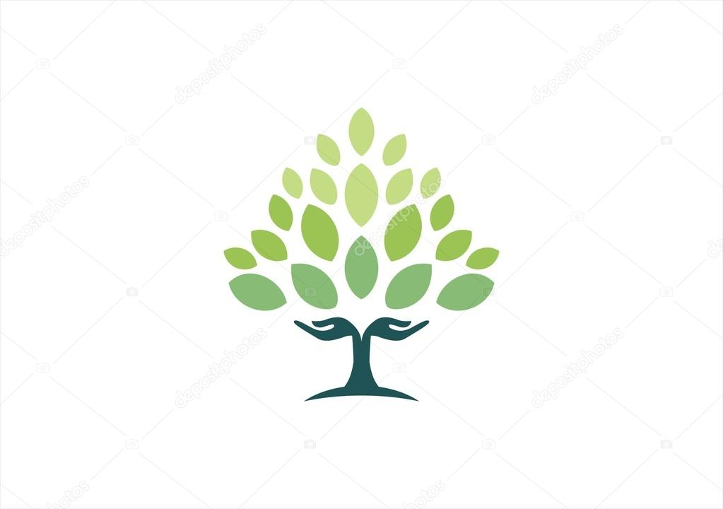 Tree hand natural logo,wellness yoga health symbol icon design vector