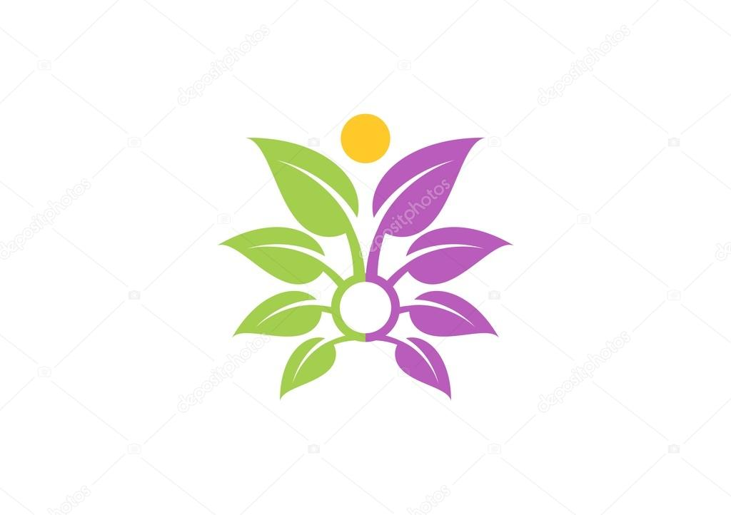 Abstract tree plant spa logo,wellness human health symbol icon design vector