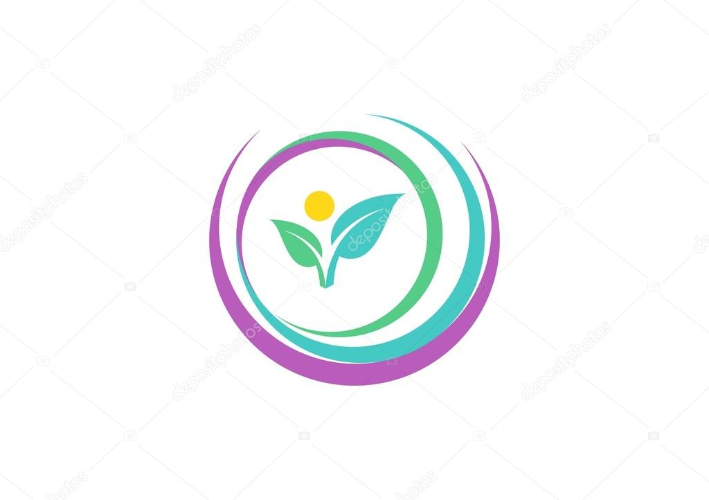 abstract circle nature logo, woman body fit care symbol, natural beautiful spa logo, circle plant icon vector design