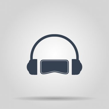 Virtual reality gaming and entertainment headset icon.