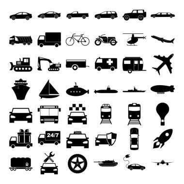 Transport icons. Vector concept illustration for design