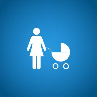 Woman with pram pictogram flat icon