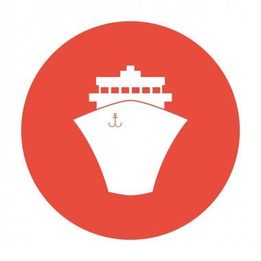 Ship icon. Flat design style.