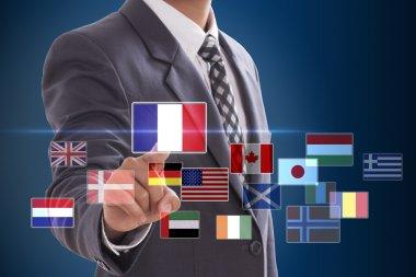 Businessman choosing French Flag