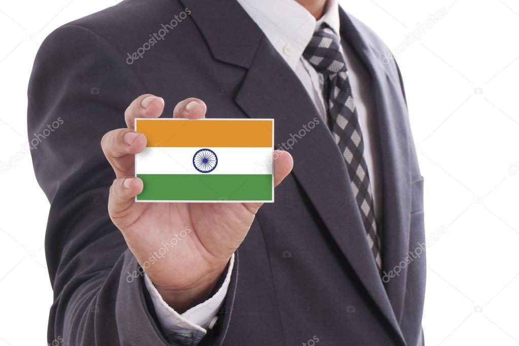 Carte Visite Inde.Homme D Affaires Detenant Une Carte De Visite Avec Le