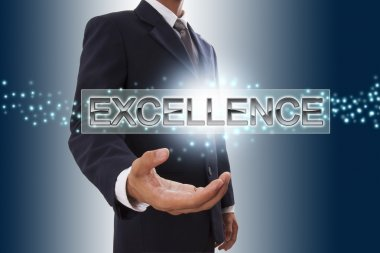 Businessman hand showing excellence