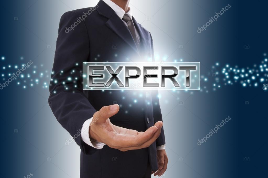 Businessman hand showing expert .