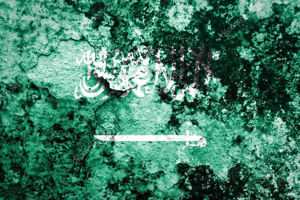 Saudi Arabia Flag on concrete wall — Stock Photo