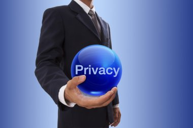 Businessman hand holding blue crystal ball with privacy word.