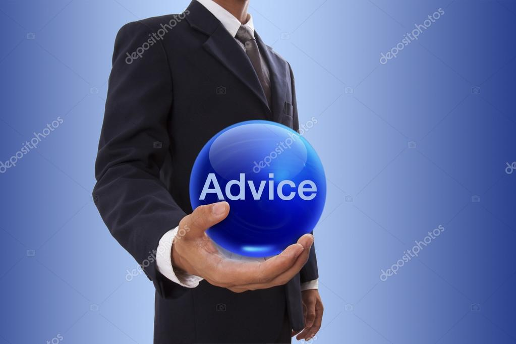 Businessman hand holding blue crystal ball with advice word.