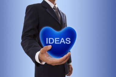 Businessman with  ideas word