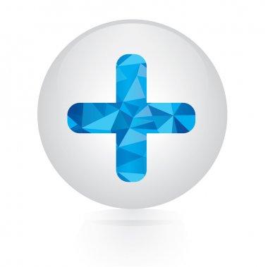 Vector - abstract blue plus icon. circular button