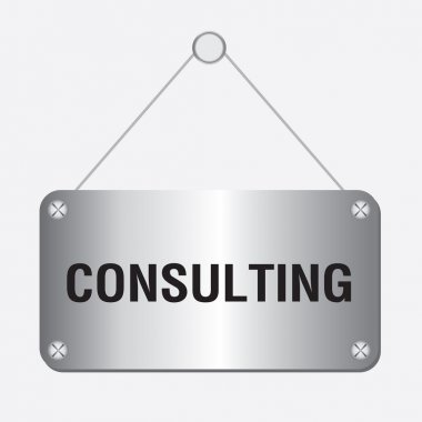 Silver metallic consulting sign hanging on the wall